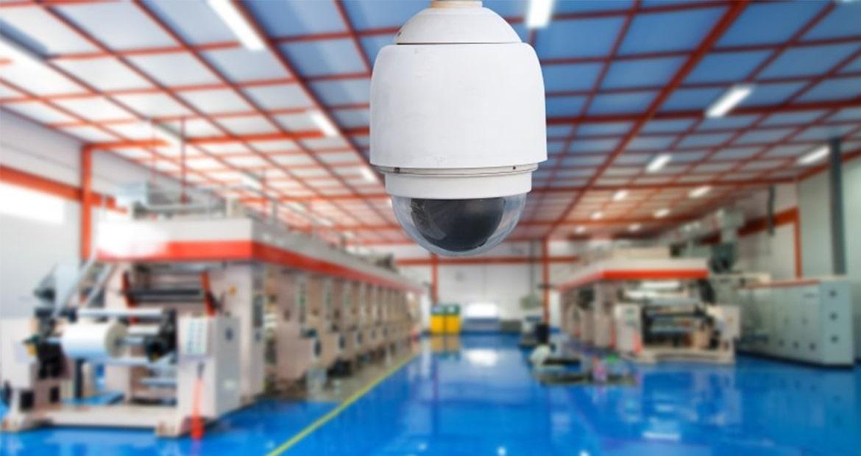 Установка камер видеонаблюдения на заводе